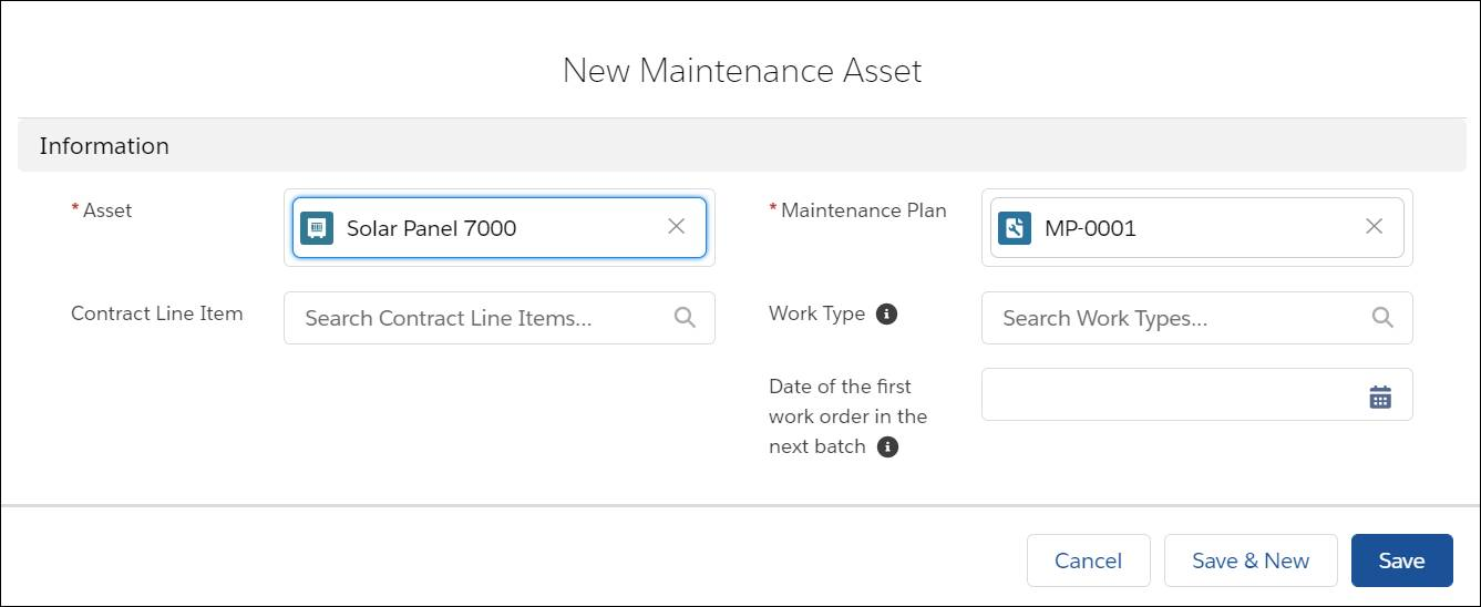 New maintenance asset window with fields completed