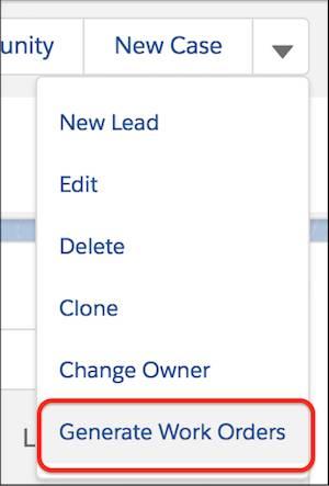 Action Génération des ordres d'exécution dans le menu déroulant d'actions du plan de maintenance.