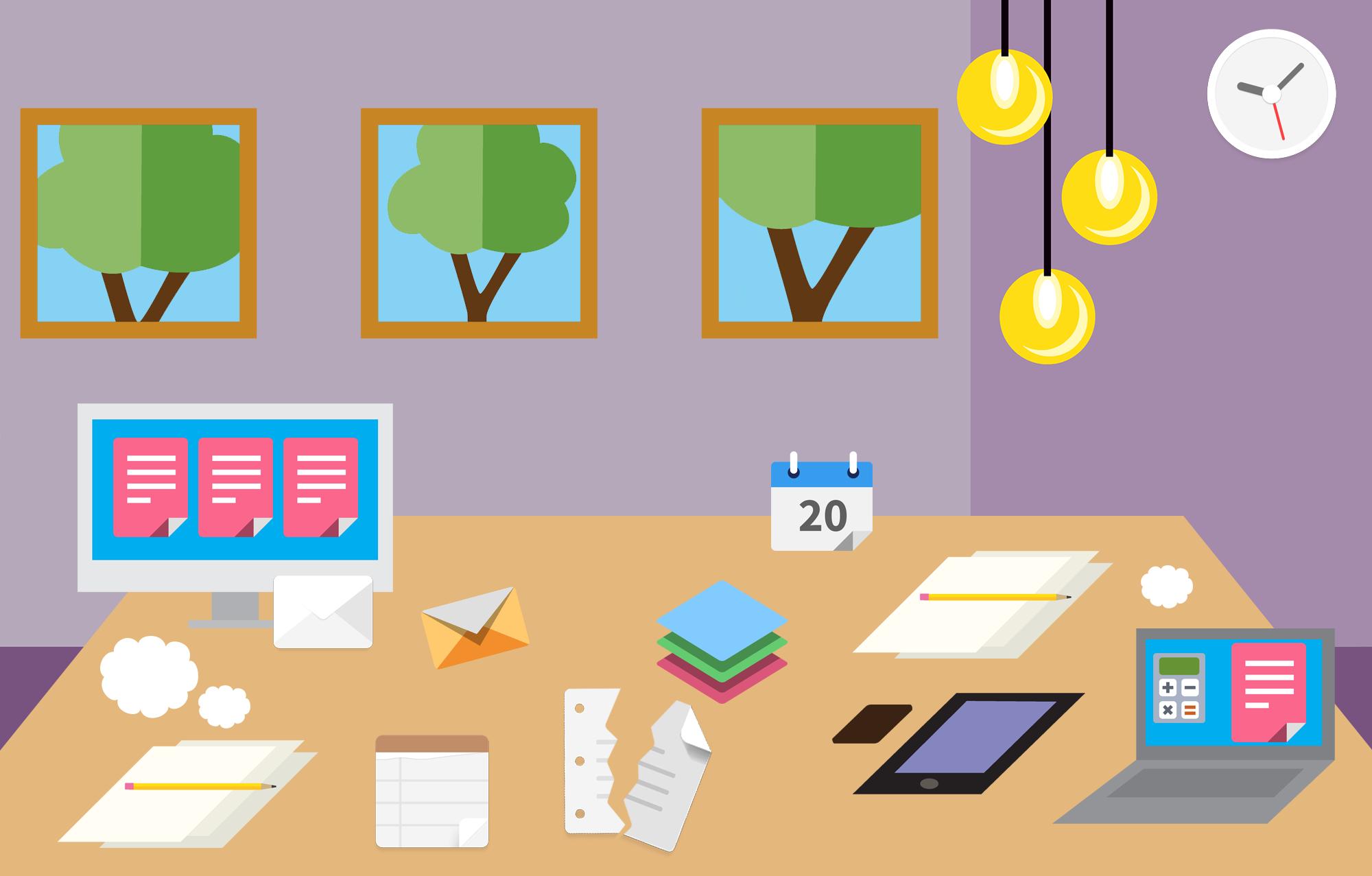 Unordentlicher Schreibtisch mit Papier, Stiften, einem Kalender auf Papier, einem Bildschirm, einem Laptop und einem Telefon