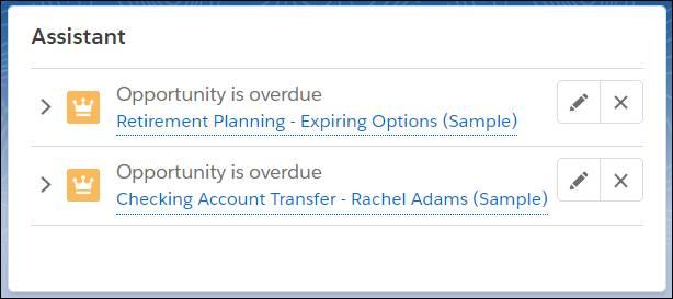 Startseitenassistent mit Aufgaben, auf denen überfällige Opportunities aufgeführt sind: Rentenplanung – ablaufende Optionen und Übertragung des Girokontos für Rachel Adams