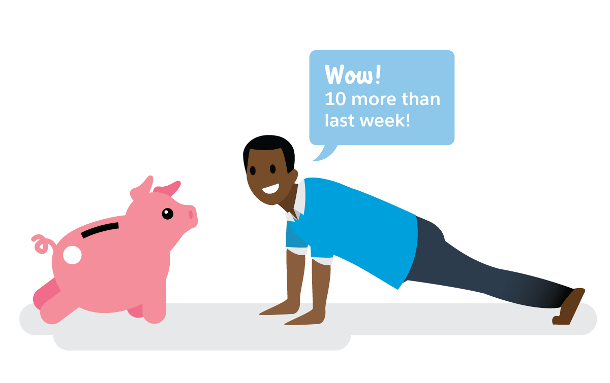 """Salesforcelandian building their money muscle, doing pushups with a piggy bank, """"Wow! 10 more than last week!"""""""