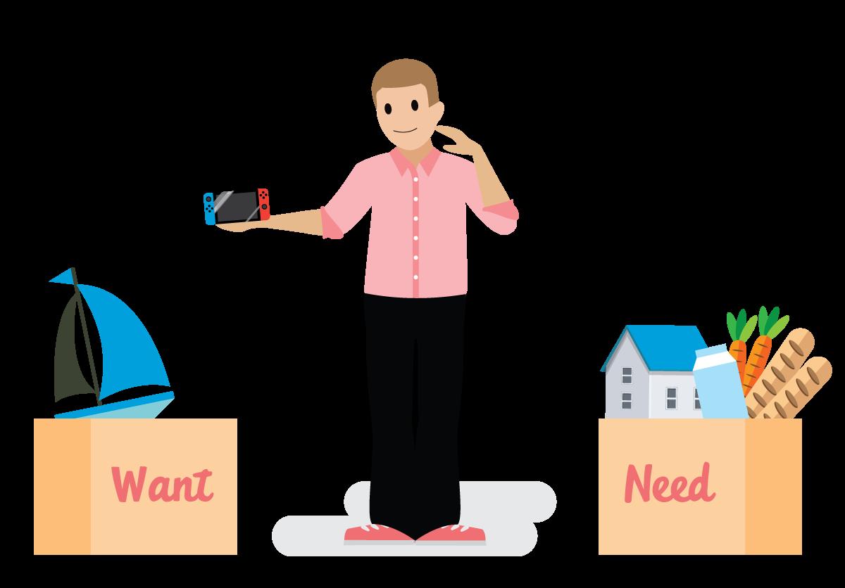 Salesforce-Mitarbeiter, der Wünsche und Bedürfnisse vergleicht.