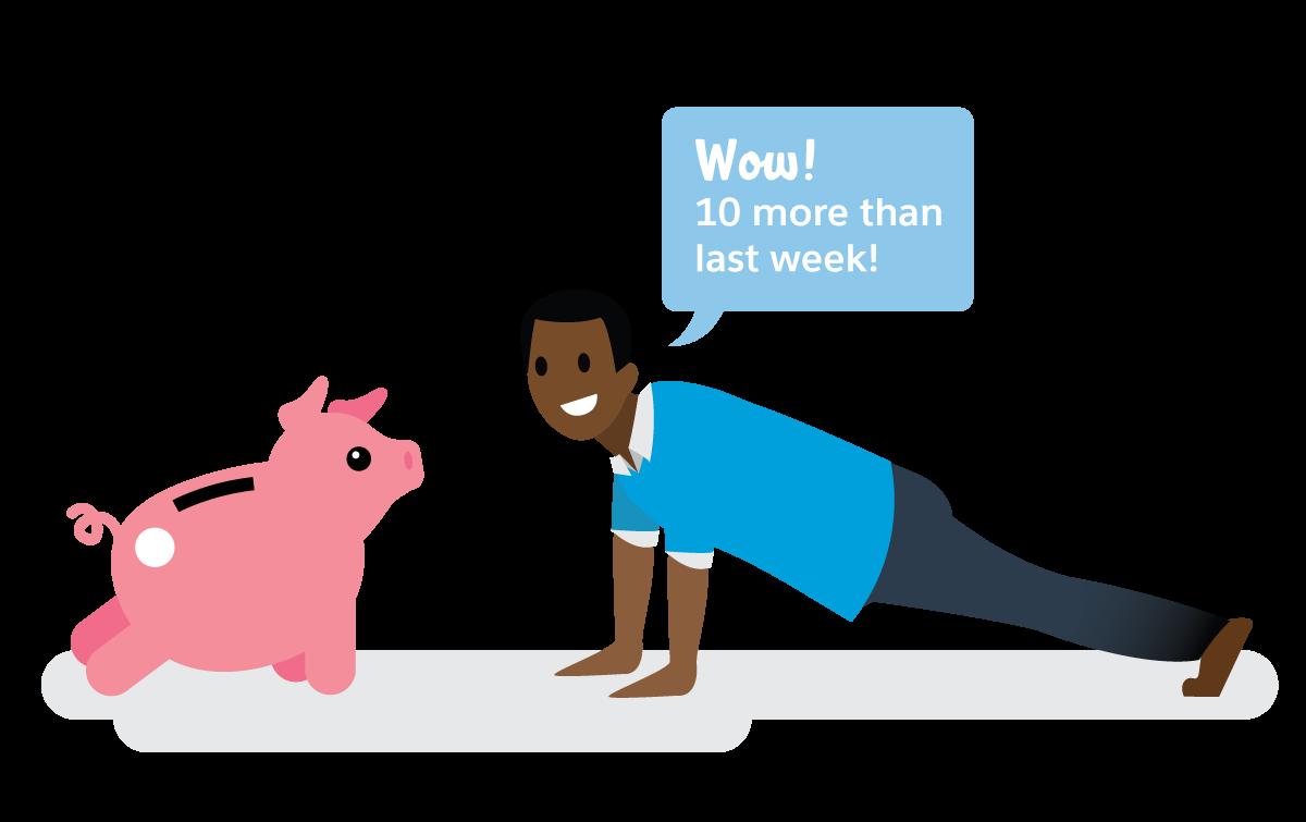 Salesforce-Mitarbeiter macht Liegestützen neben einem Sparschwein und ruft aus 'Hurra! 10 mehr als letzte Woche!'