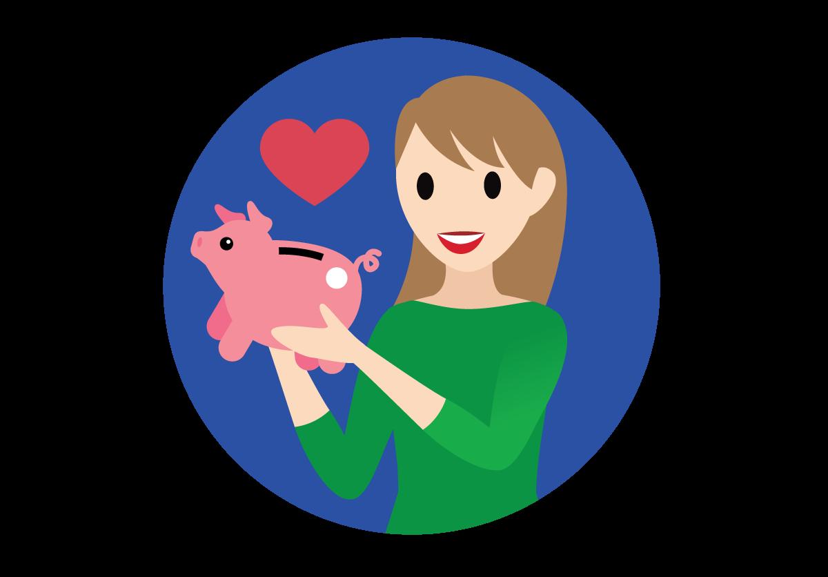 Salesforcelandian holding a piggy bank.