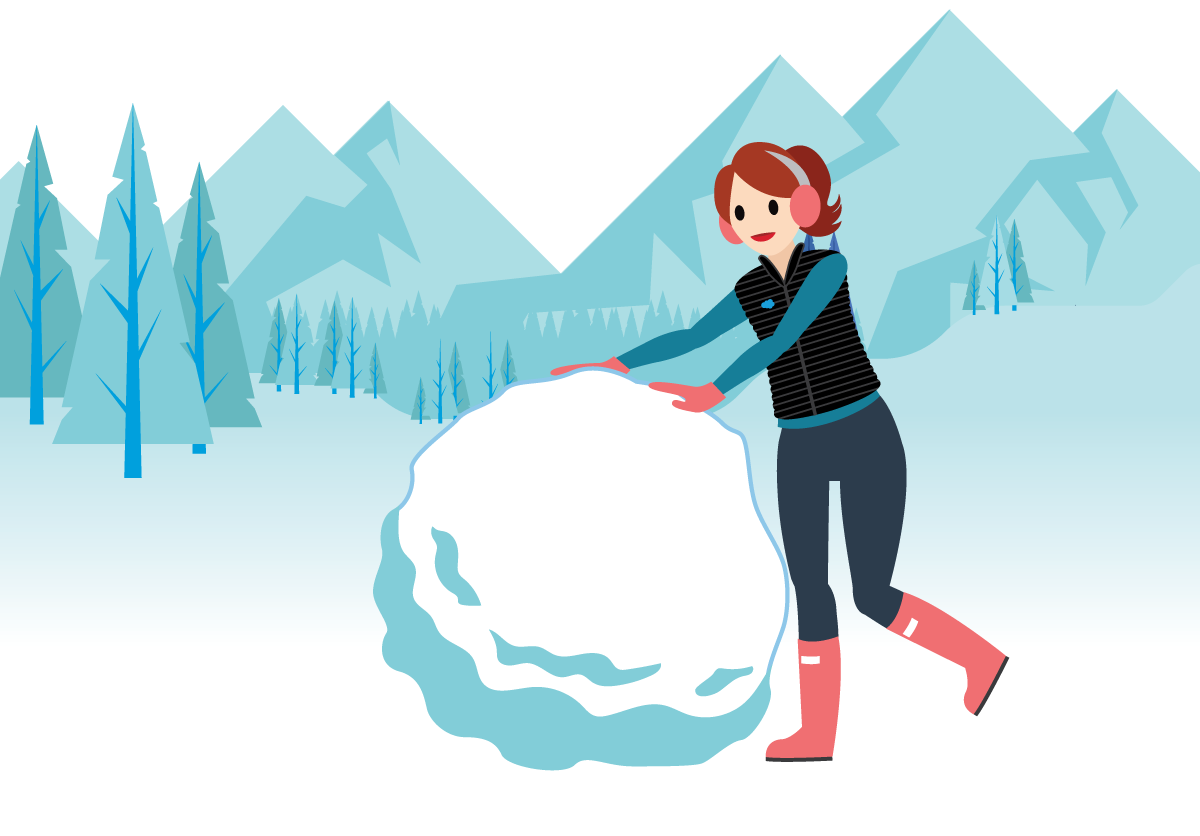 Salesforcelandian rolling a large snowball.