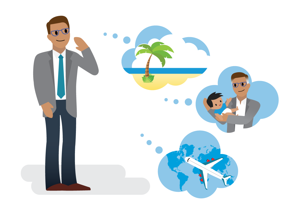 Salesforcelandian imagining retirement—soaking up the sun on a beach, caring for loved one