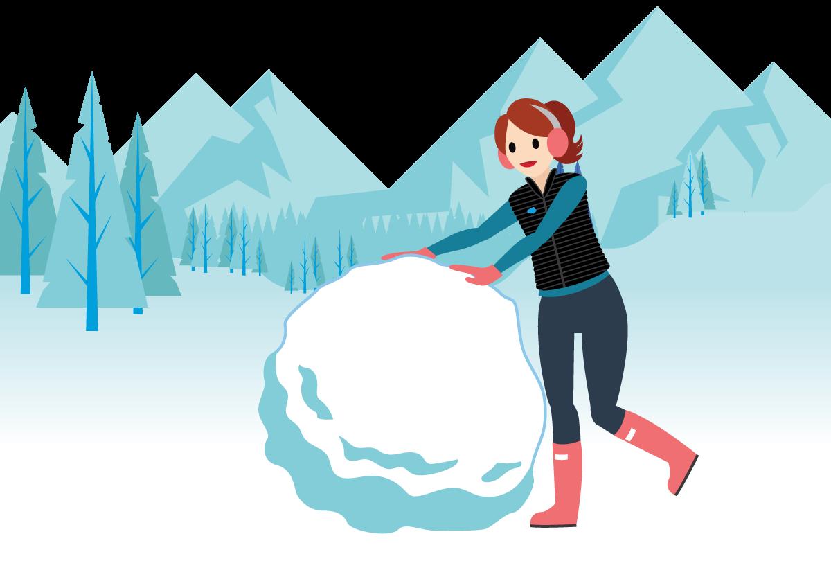 Habitante du pays Salesforce en train de faire rouler une grosse boule de neige.