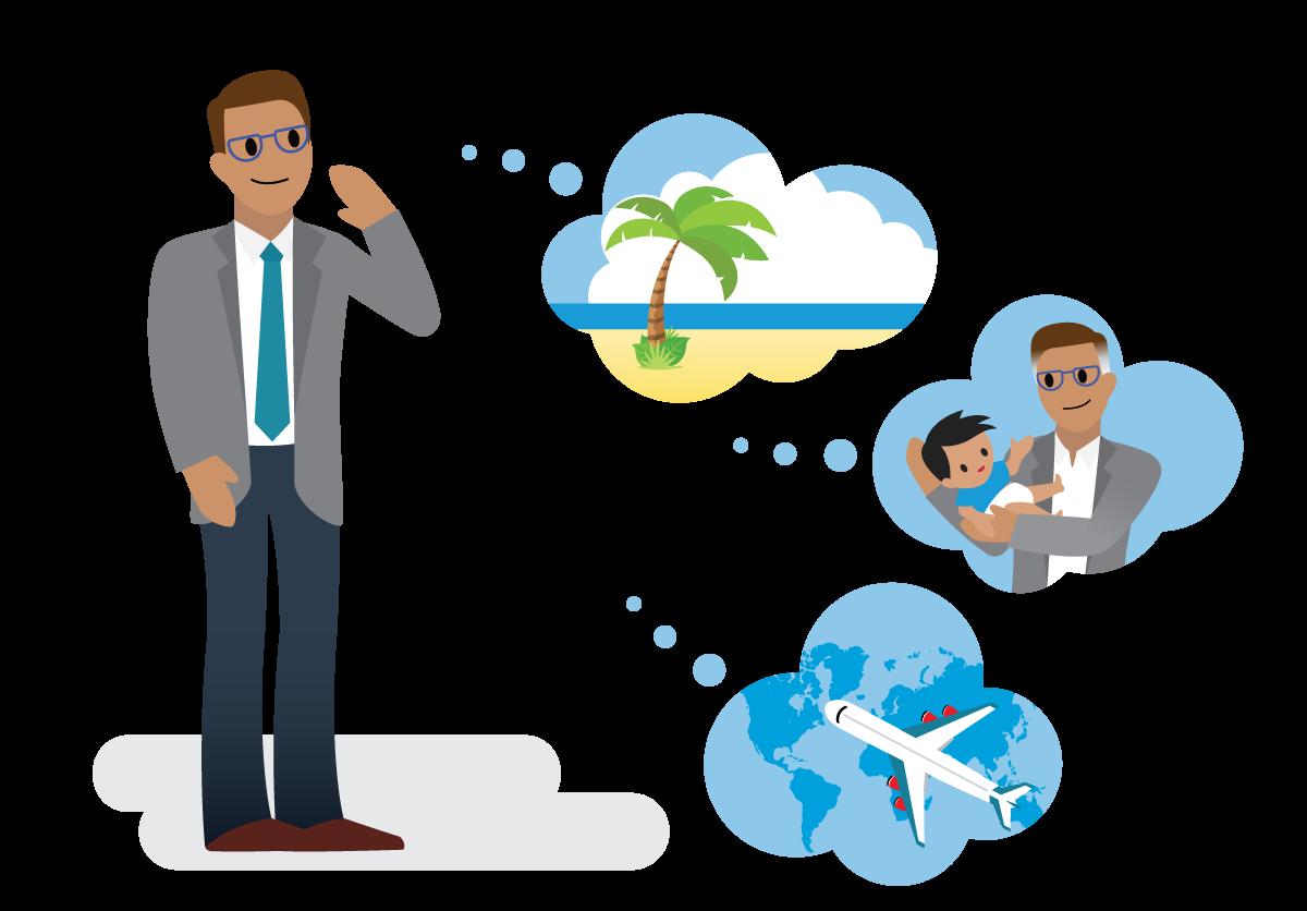 Habitant du pays Salesforce en train d'imaginer sa retraite: bronzer sur la plage et prendre soin de ses proches