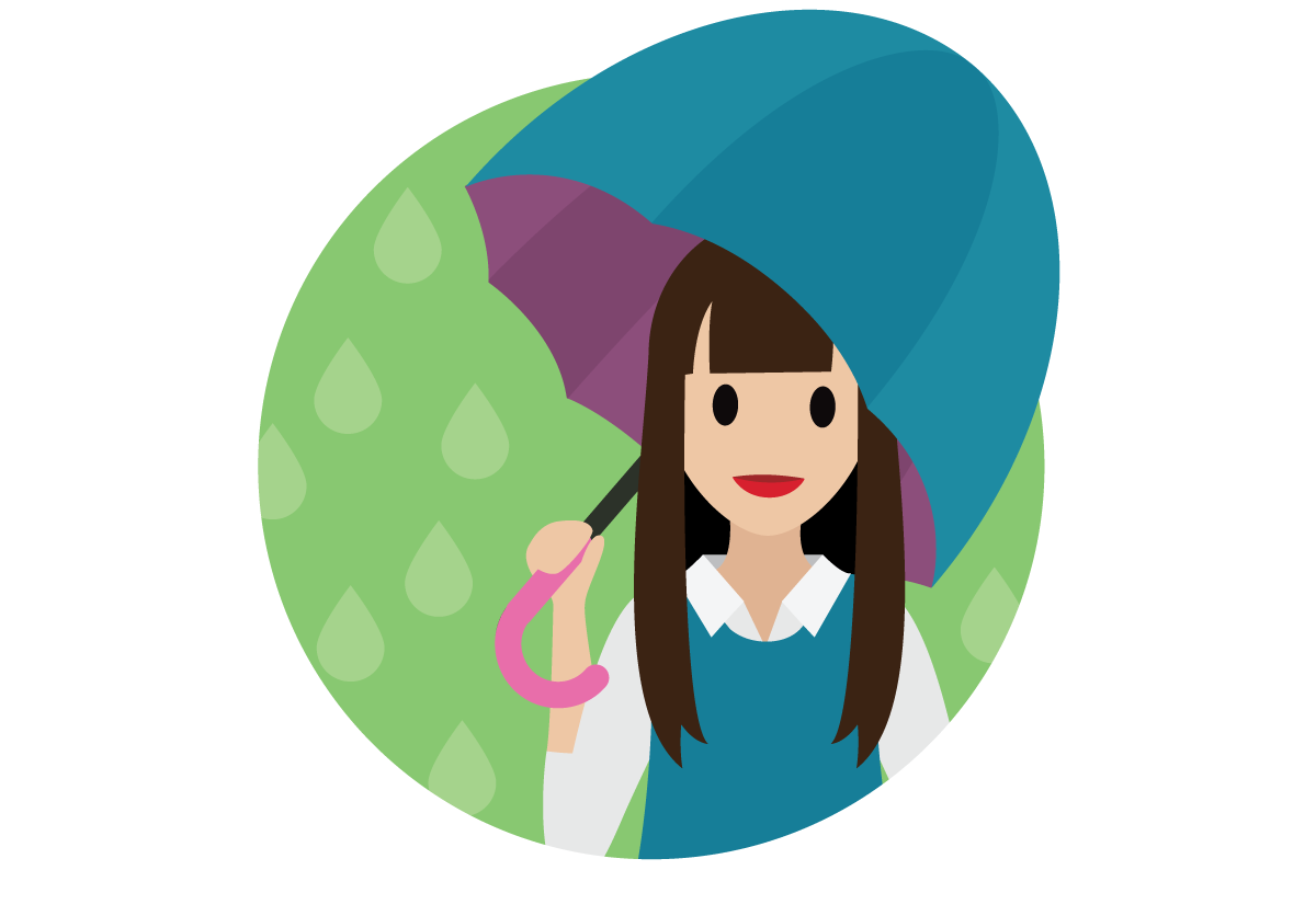 Salesforcelandian using an umbrella to shield from the rainy day.