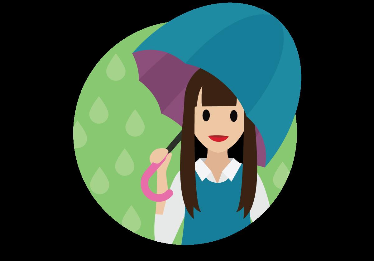 Salesforce-Mitarbeiter mit einem Regenschirm zum Schutz an einem Regentag.