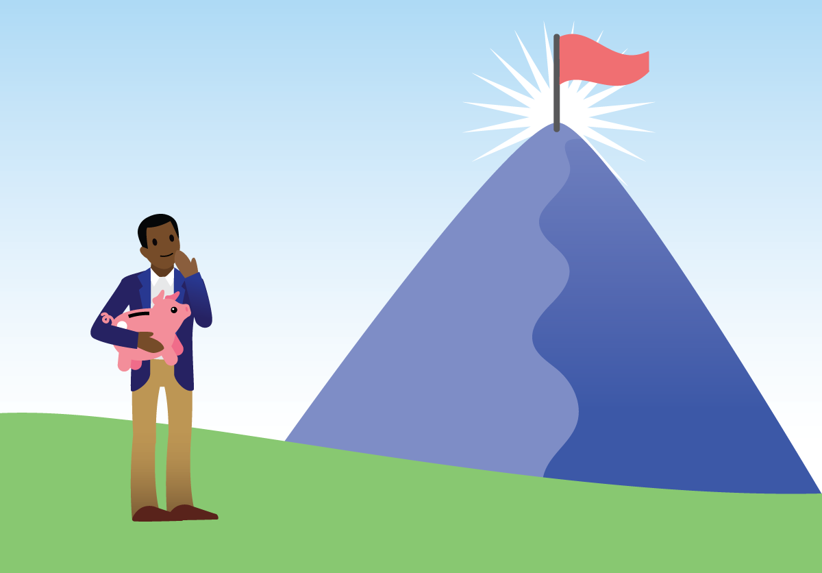 Habitant du pays Salesforce prêt à vaincre une montagne de dettes.