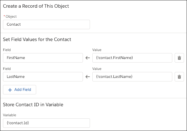 A Create Records element that manually maps the field values by using resources from the flow