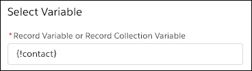 An Update Records element that uses the values from the {!contact} record variable