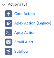 Action elements in the Flow Builder toolbox