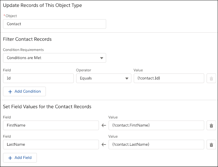 An Update Records element that manually maps the field values by using resources from the flow