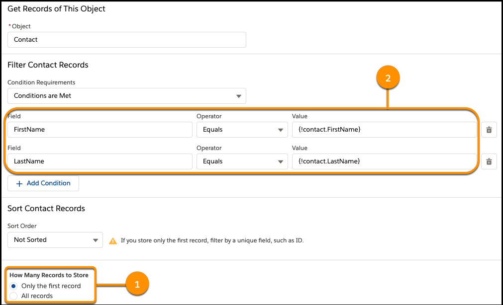 Ein Element des Typs 'Datensätze abrufen', das Kontaktdatensätze abruft, bei denen Vor- und Nachname mit der Eingabe des Benutzers in den Bildschirm 'Kontaktinformationen' übereinstimmen.