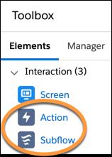 Éléments d'action dans la boîte à outils de FlowBuilder