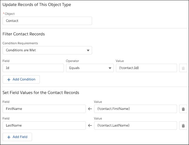 Un élément Mettre à jour les enregistrements qui mappe manuellement les valeurs de champ à l'aide de ressources issues du flux