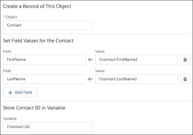 フローのリソースを使用して手動で項目値を対応付けるレコードの作成オプション