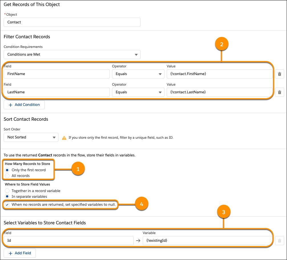 レコードを取得要素。ユーザが [Contact Info (取引先責任者情報)] 画面に入力した姓と名に一致する取引先責任者レコードを取得し、最初に返された取引先責任者の ID を {!existingId} 変数に保存します。