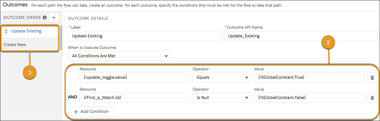 """Details for the """"Update Existing"""" outcome, which evaluates whether the {!update_toggle.value} variable is true and whether the {!Find_a_Match.Id} variable is not null."""