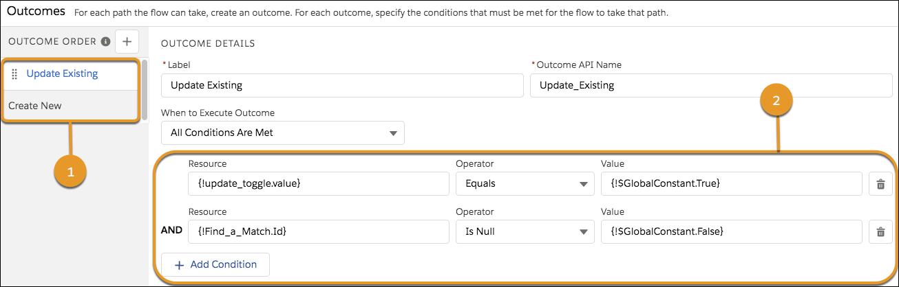Details für das Ergebnis 'Bestehenden aktualisieren', das auswertet, ob die Variable {!update_toggle.value} WAHR ist und ob die Variable {!Find_a_Match.Id} nicht NULL ist.
