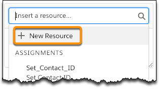 The New Resource button highlighted in the dropdown options from the search box.