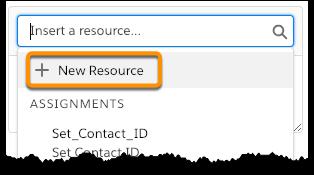 Die in den Optionen des Dropdown-Menüs im Suchfeld hervorgehobene Schaltfläche 'Neue Ressource'.