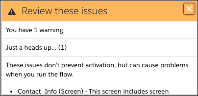 Warnbildschirm, der angibt, dass einige Bildschirmkomponenten die Lightning-Laufzeit benötigen, um ordnungsgemäß zu funktionieren.