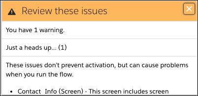 一部の画面コンポーネントは正常に動作するために Lightning ランタイムが必要であることを示す警告画面。