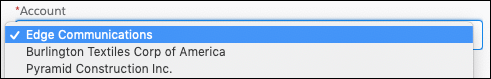 Un composant d'écran intitulé «Compte» avec Acme choisi dans la liste de sélection