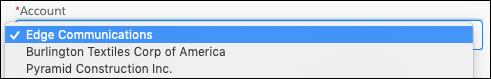 [Account (取引先)] という表示ラベルの付いた画面コンポーネントで、選択リストから Acme が選択されています。