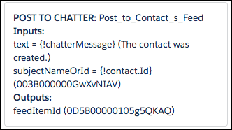 The debug details for the Post to Chatter core action.