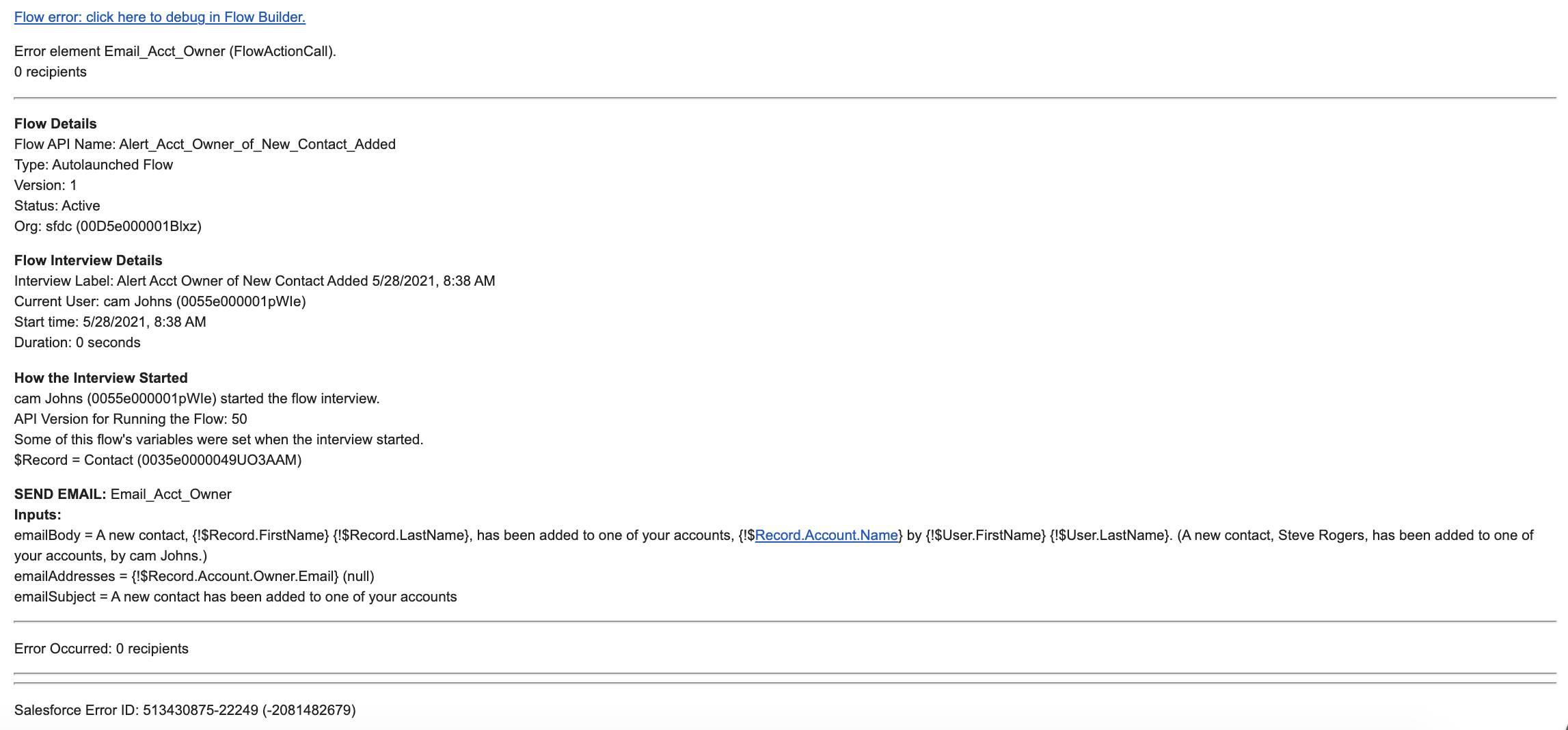 Flow error email excerpt