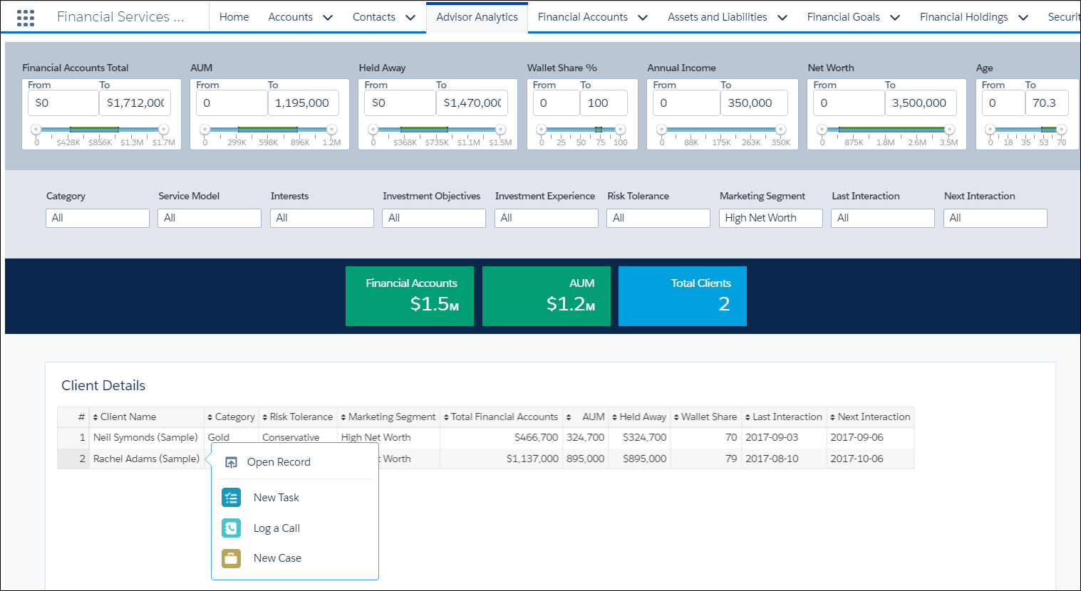 Screen shot showing the Advisor Analytics view with the Client List tab highlighted.
