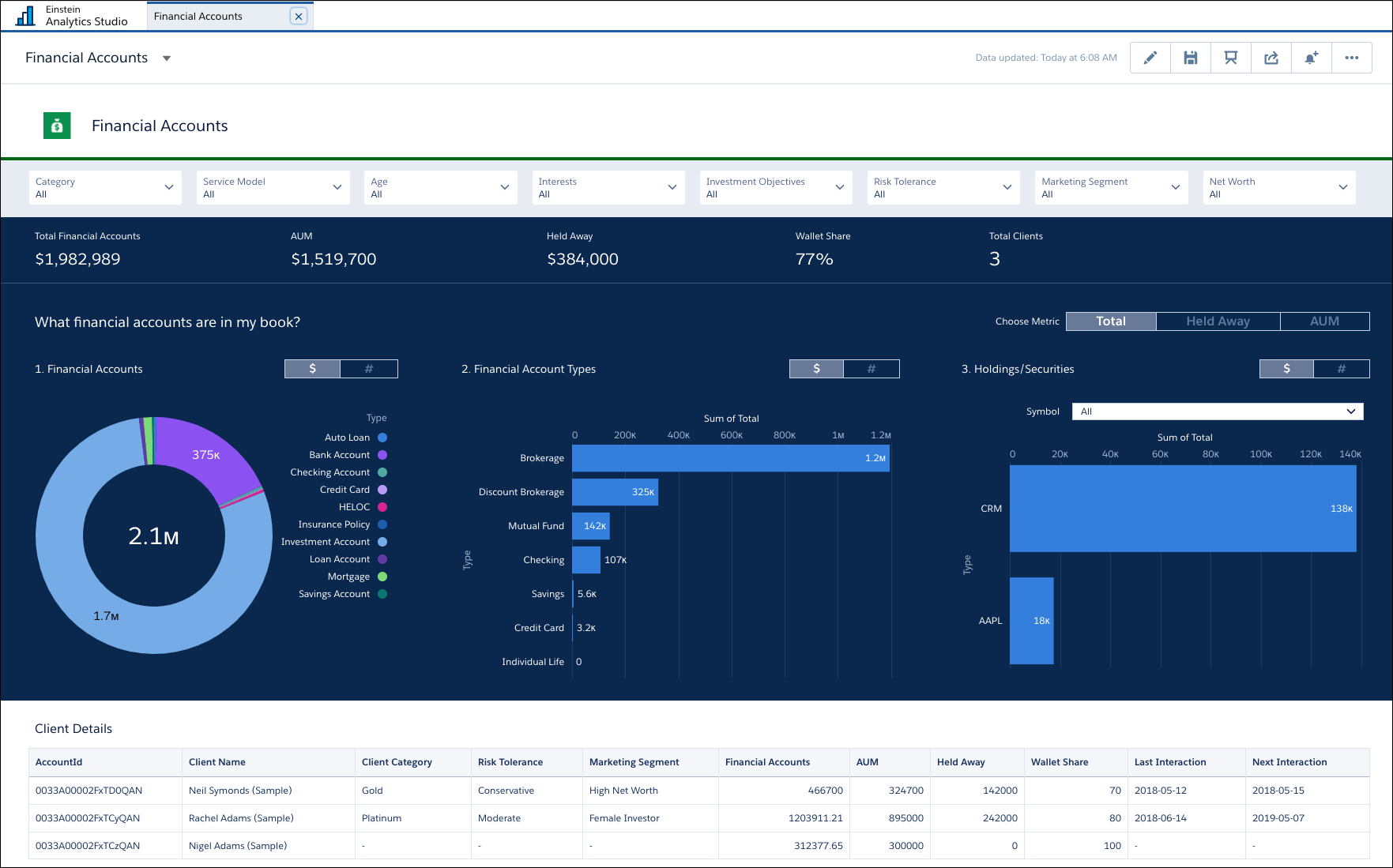 Screen shot showing Financial Accounts dashboard