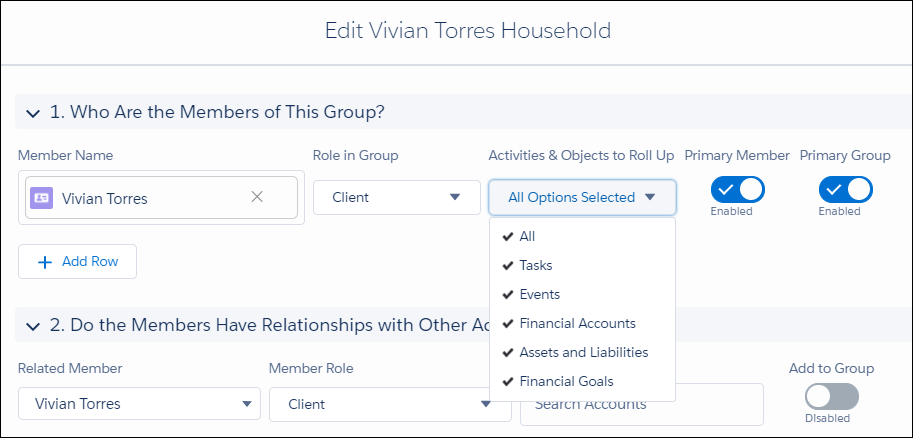 Edit Vivian Torres Household dialog. Member name: Vivian Torres; Role in Group: Client; Activities and Objects to Roll Up: All; Primary Member: Enabled; Primary Group: Enabled.