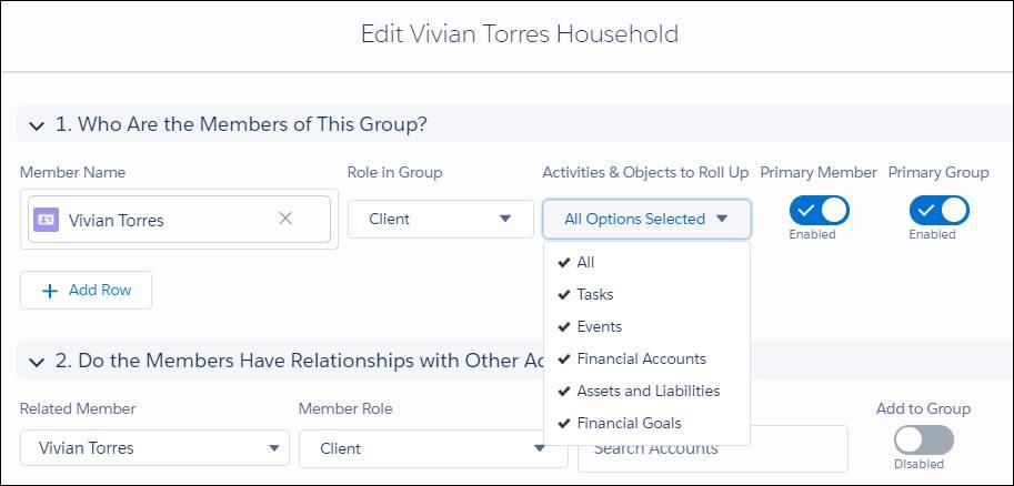Modifiez la boîte de dialogue du foyer Vivian Torres. Nom de membre: Vivian Torres; Rôle dans le groupe: Cliente; Activités et objets à cumuler: Tout; Membre principal: Activé; Groupe principal: Activé.