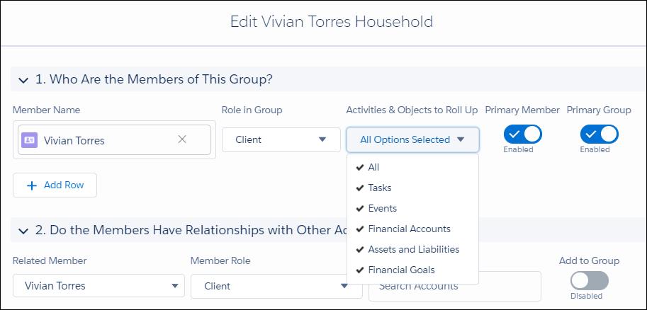 [Vivian Torres Household (Vivian Torres 世帯)] ダイアログを編集します。[メンバー名] は「Vivian Torres」、[グループでのロール] は [クライアント]、[積み上げる活動とオブジェクト] は [すべて]、[プライマリメンバー] は [有効化]、[プライマリグループ] も [有効化] に設定します。