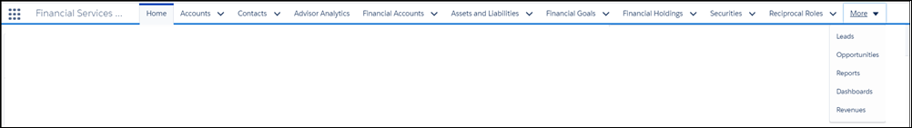 The main menu bar listing: Home, Accounts, Contacts, Advisor Analytics, Financial Accounts, Assets and Liabilities, Financial Goals, Financial Holdings, Securities, Reciprocal Roles, and More. The More menu is pulled down to display Leads, Opportunities, Reports, Dashboards, and Revenues