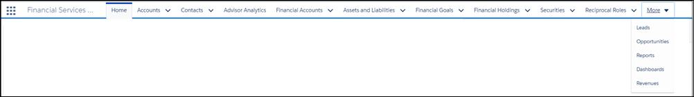 Die Hauptmenüleiste mit folgenden Einträgen: Startseite, Accounts, Kontakte, Berateranalyse, Finanzaccounts, Aktiva und Passiva, Finanzziele, Finanzbeteiligungen, Sicherheiten, Wechselseitige Rollen und Mehr. Wird das Menü 'Mehr' aufgeklappt, werden die Menüpunkte 'Leads', 'Opportunities', 'Berichte', 'Dashboards' und 'Umsätze' angezeigt.