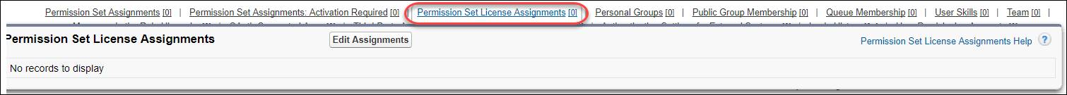 Users page with Permission Set License Assignments highlighted.
