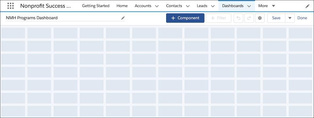 A blank dashboard grid.