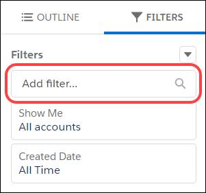 Adding a filter to a report.
