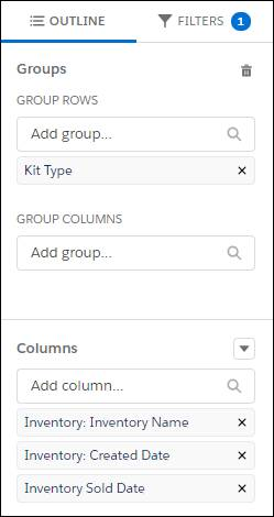 Adding Kit Type in the Outline tab as the way to group rows in the report.