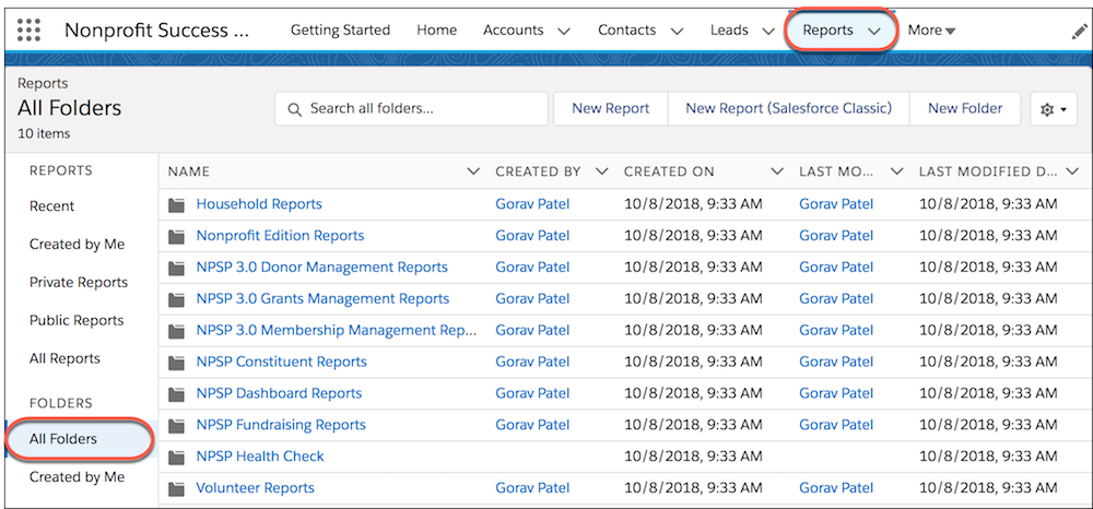 The Reports tab in the navigation bar and the All Folders section which houses NPSP Reports.