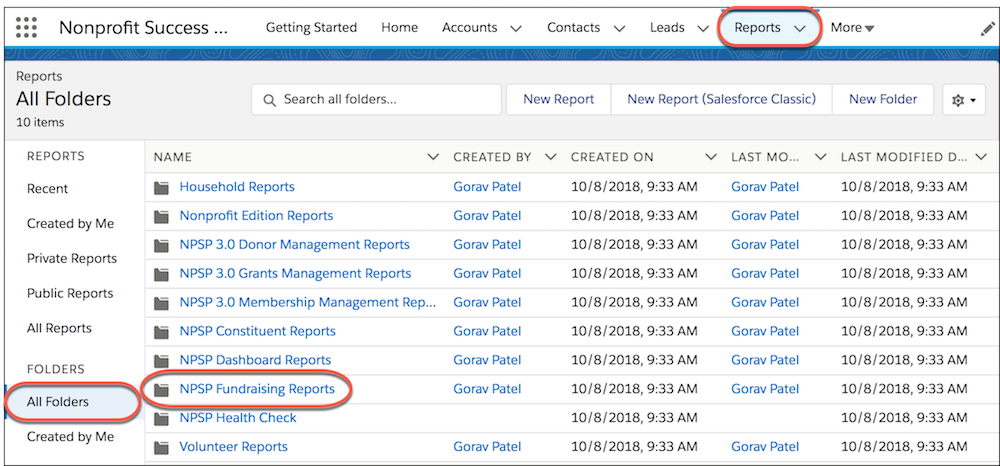 NPSP Fundraising Reports in the All Folders section of the Reports tab.