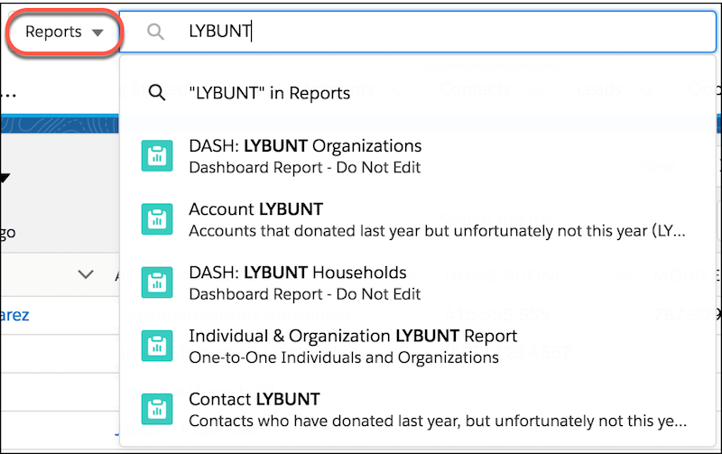 """""""LYBUNT"""" is typed into the Global Search showing a list of recently accessed """"Last Year But Unfortunately Not This"""" fundraising reports."""