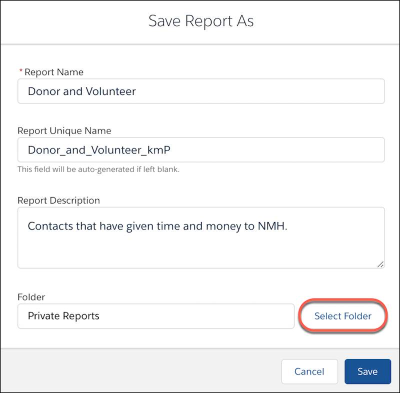 Saving the report in a new folder.