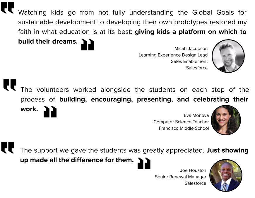 """""""Perceber que as crianças, que antes não compreendiam plenamente os objetivos globais para o desenvolvimento sustentável, conseguiram desenvolver seus próprios protótipos foi capaz de restaurar minha fé no verdadeiro significado da educação: proporcionar a elas uma plataforma para criar seus sonhos."""" Micah Jacobson, Líder em Design de Experiência de Aprendizagem, Ativação de Vendas, Salesforce. """"O apoio que demos aos alunos foi muito apreciado. Comparecer fez toda a diferença para eles."""" Joe Houston, Gerente Sênior de Renovação, Salesforce. """"Os voluntários trabalharam ao lado dos alunos em cada etapa do processo de construção enquanto incentivavam, apresentavam e comemoravam seu trabalho."""" Eva Monova, Professora de Ciência da Computação, Francisco Middle School"""